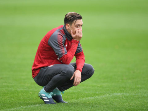 ST ALBANS, ENGLAND - SEPTEMBER 08:  Mesut Ozil of Arsenal during a training session at London Colney on September 8, 2017 in St Albans, England.  (Photo by Stuart MacFarlane/Arsenal FC via Getty Images)